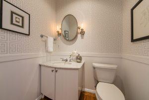 Condo Bathroom with Jonathan Adler Greek Key Wallpaper