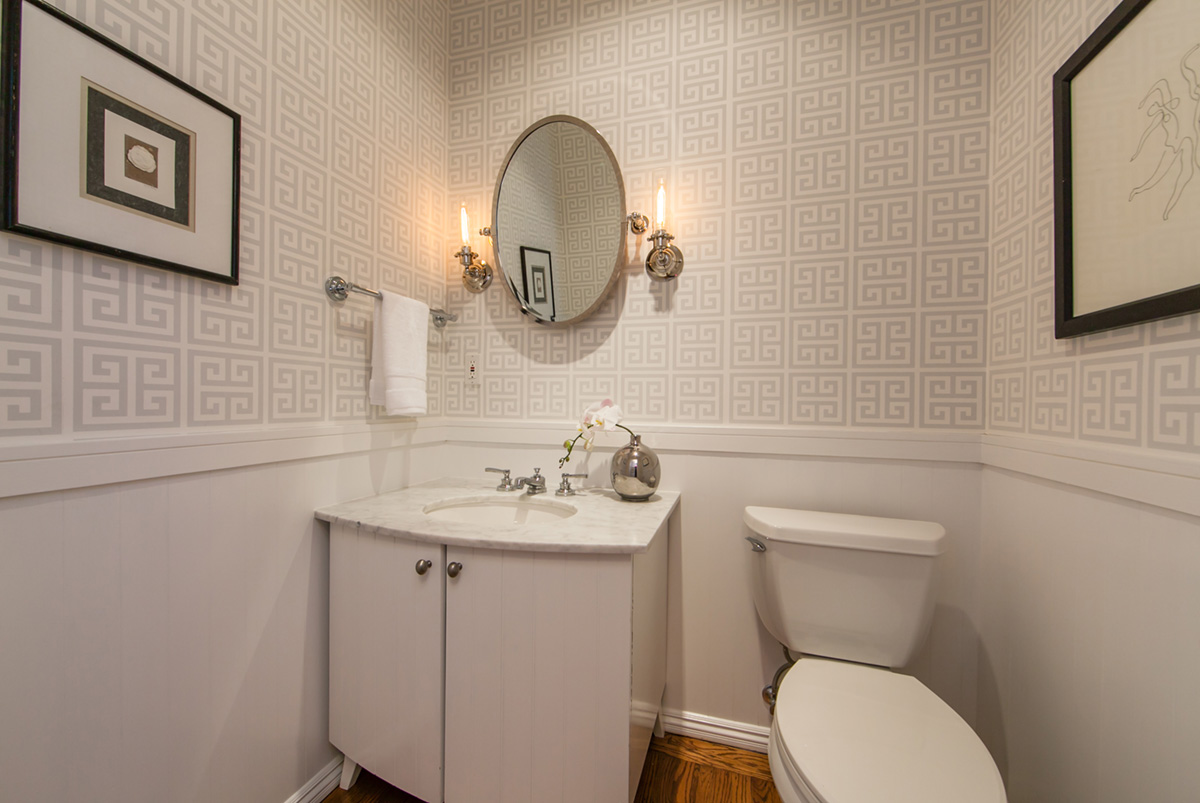 Condo Bathroom with Jonathan Adler Greek Key Wallpaper